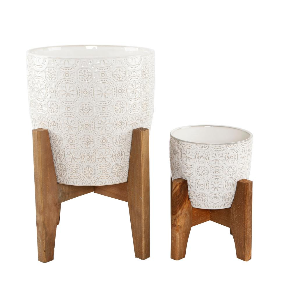 Flora Bunda 10 in and 6.6 in Ivory White Cathedral Ceramic planter on Stand Mid-Century Planter(SET OF 2)