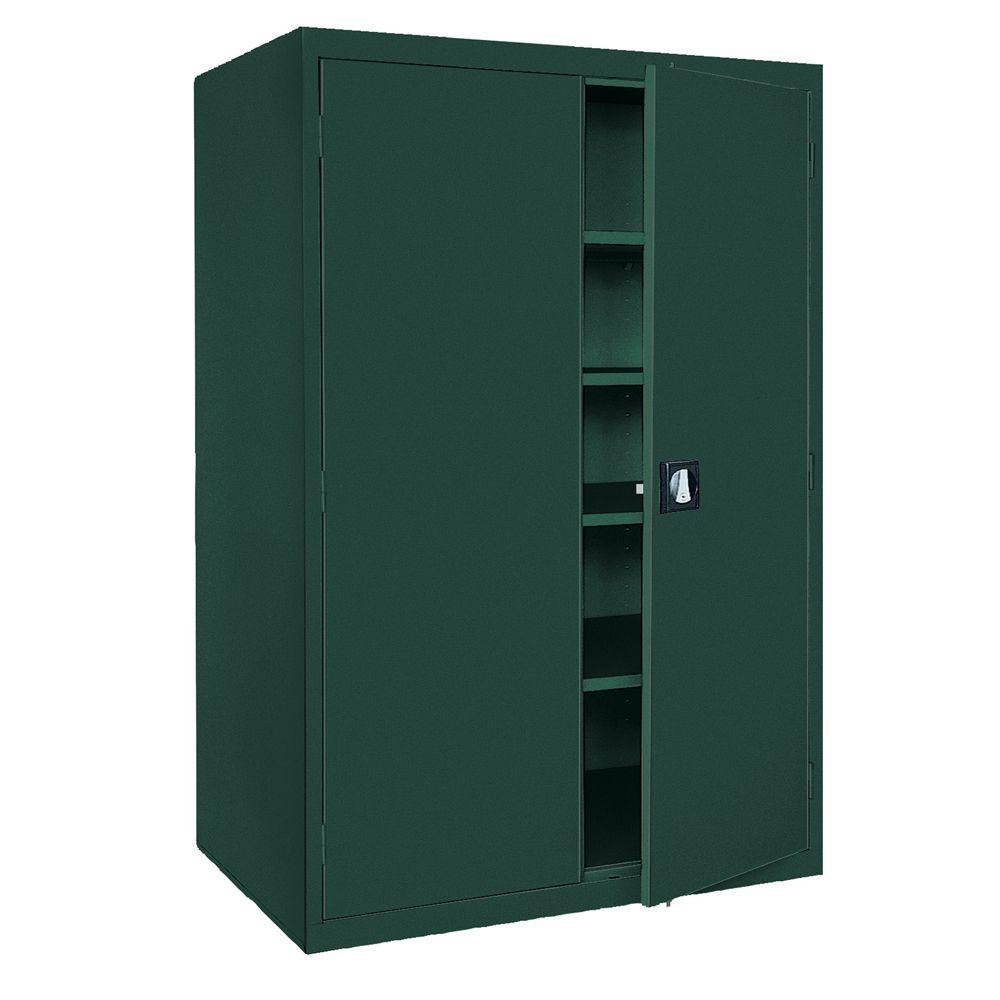 Sandusky Elite Series 78 in. H x 46 in. W x 24 in. D 5-Shelf Steel Recessed Handle Storage Cabinet in Forest Green