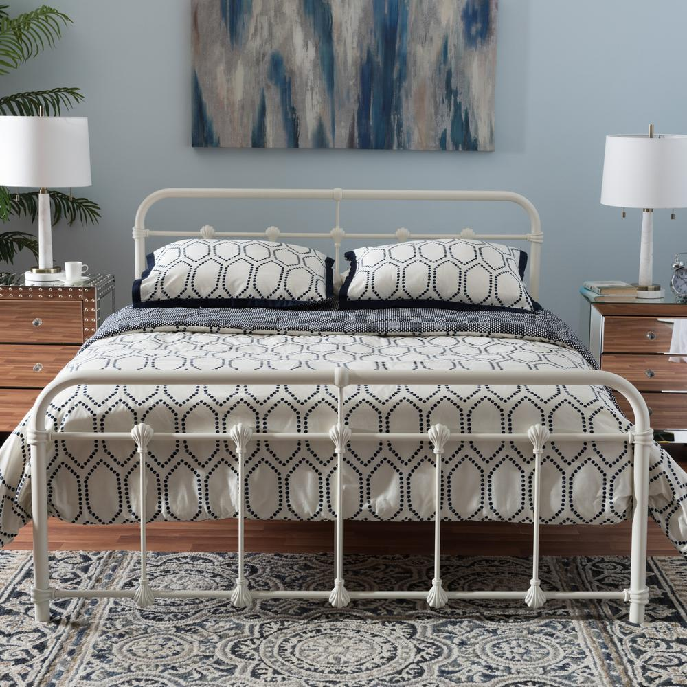 83e911530dd0 Baxton Studio Mandy Vintage Industrial White Finished Metal Queen Size  Bed-28862-7397-HD - The Home Depot