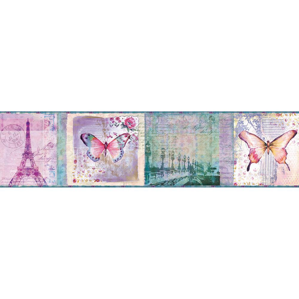 Worldly Purple Bon Voyage Butterflies Purple Wallpaper Border