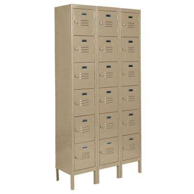 Citadel 12 in. W x 15 in. D x 12 in. H Steel 3 Wide Traditional 6 Tier Box Locker with 18 Openings in Tan