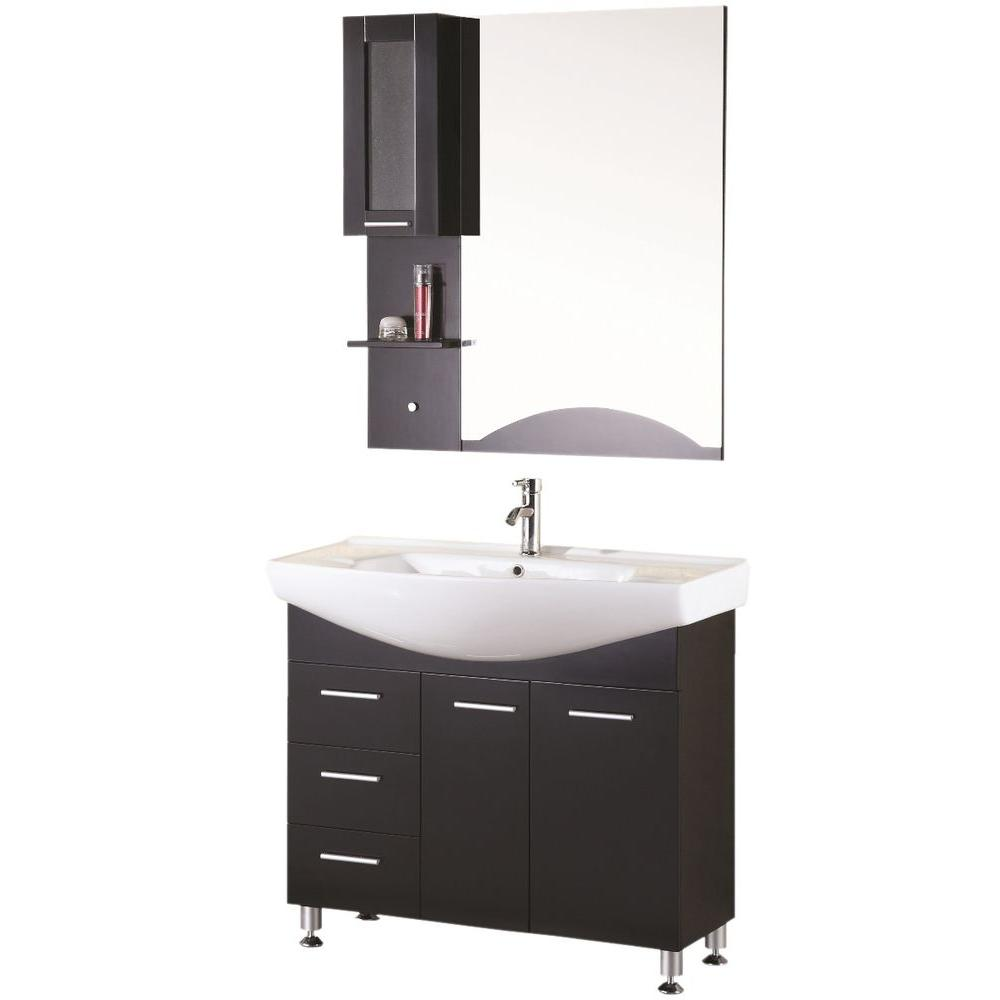 Remarkable Design Element Sierra 40 In W X 21 In D Vanity In Espresso With Porcelain Vanity Top And Mirror In White Download Free Architecture Designs Intelgarnamadebymaigaardcom