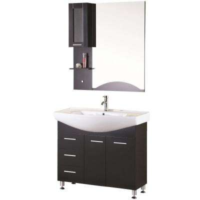 Sierra 40 in. W x 21 in. D Vanity in Espresso with Porcelain Vanity Top and Mirror in White