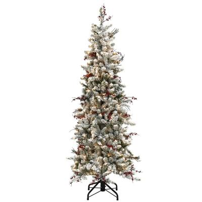 7.5 ft. Memory-Shape Snowy Freehold Spruce Pencil Slim Artificial Christmas Tree with Clear Lights