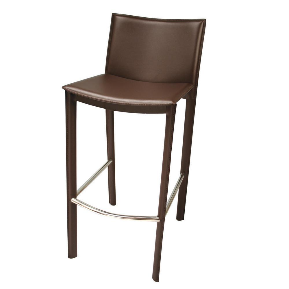 Brown steel and leather bar stool