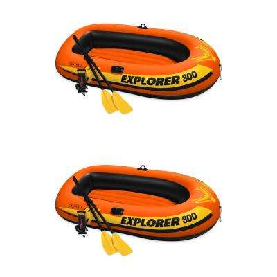 Explorer 300 Fishing 3-Person Inflatable Raft Boat (2-Pack)