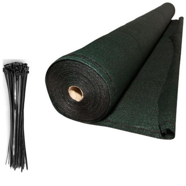 Valueveil 5 ft. x 50 ft. Green Mesh Fabric Privacy Screen Fence Netting with Aluminum Reinforced Grommets Free Zip Tie