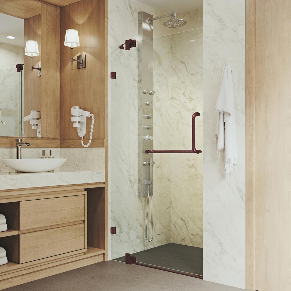 vigo pirouette 42 in x 72 in frameless pivot shower door with