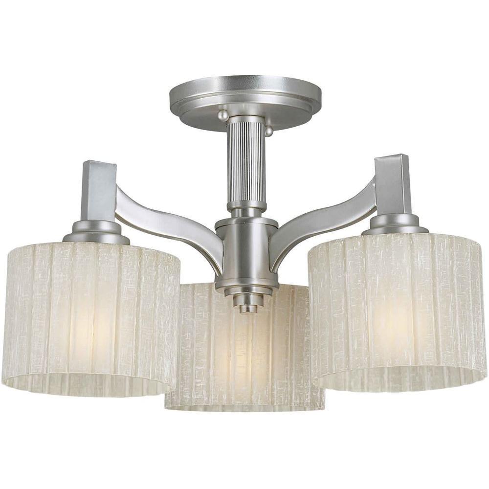 Prana 3-Light Brushed Nickel Semi-Flush Mount Light with Umber Linen Glass