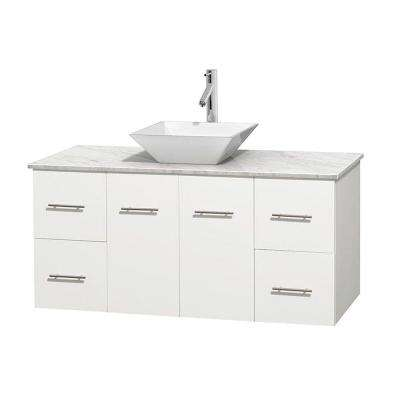 Centra 48 in. Vanity in White with Marble Vanity Top in Carrara White and Porcelain Sink