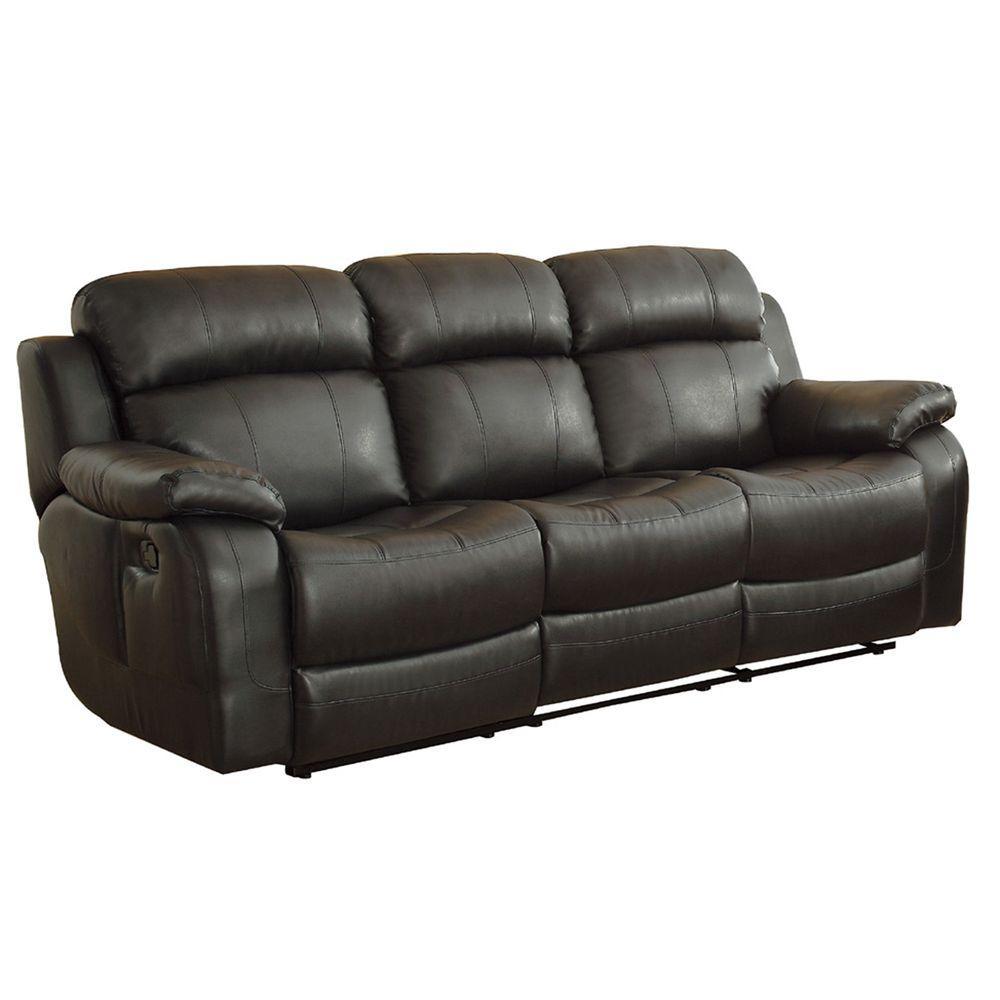 HomeSullivan Kenwood Black Leather Sofa by HomeSullivan