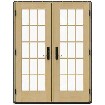 59.25 in. x 79.5 in. W-4500 Chestnut Bronze Right-Hand Inswing French Wood Patio Door
