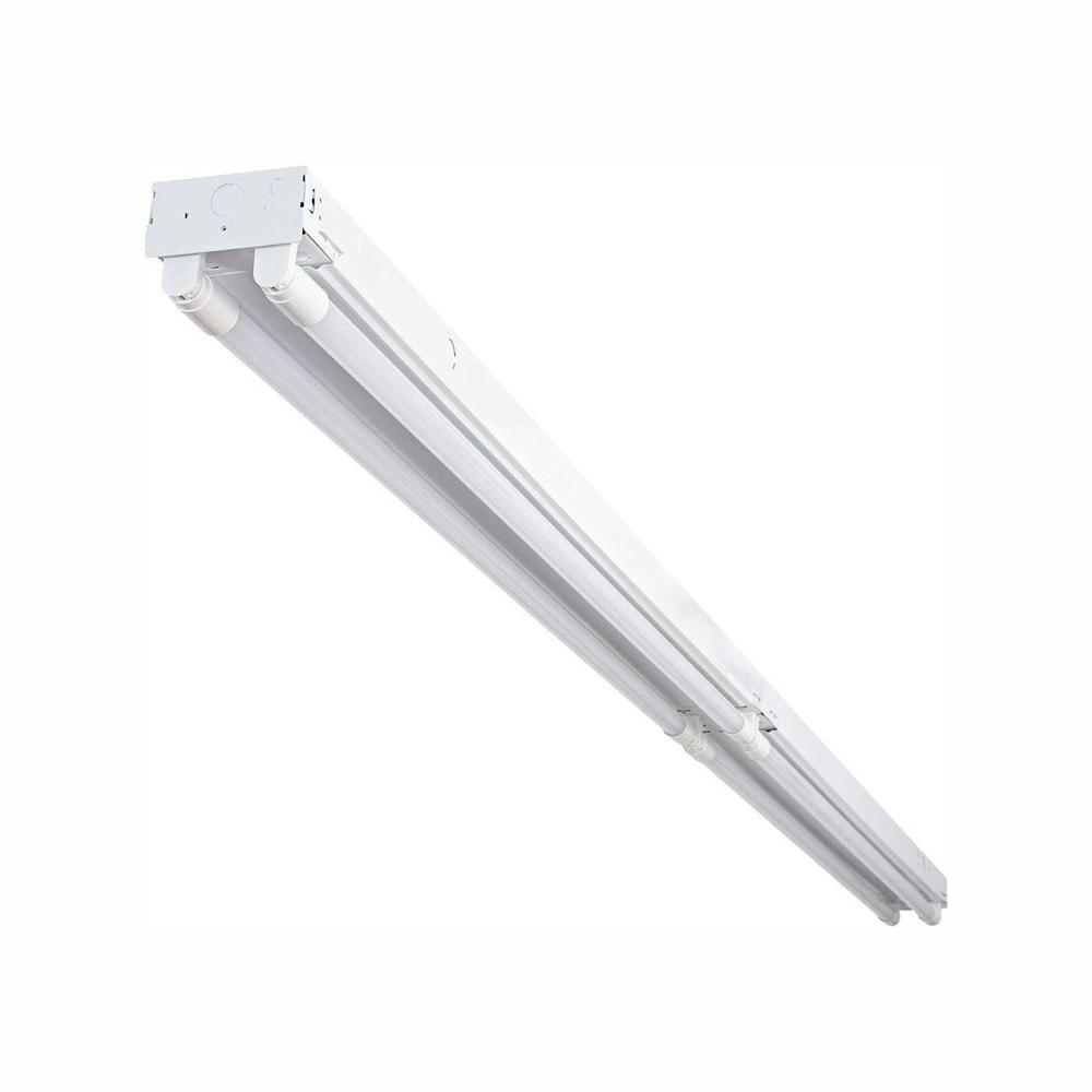 8 ft. 14-Watt 4-Light T8 Industrial LED White Strip Light with Battery Backup and 1800 Lumens DLC Flex Tubes 3500K
