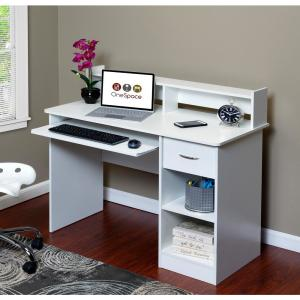 OneSpace Essential White Computer Desk Hutch with Pull-Out ...