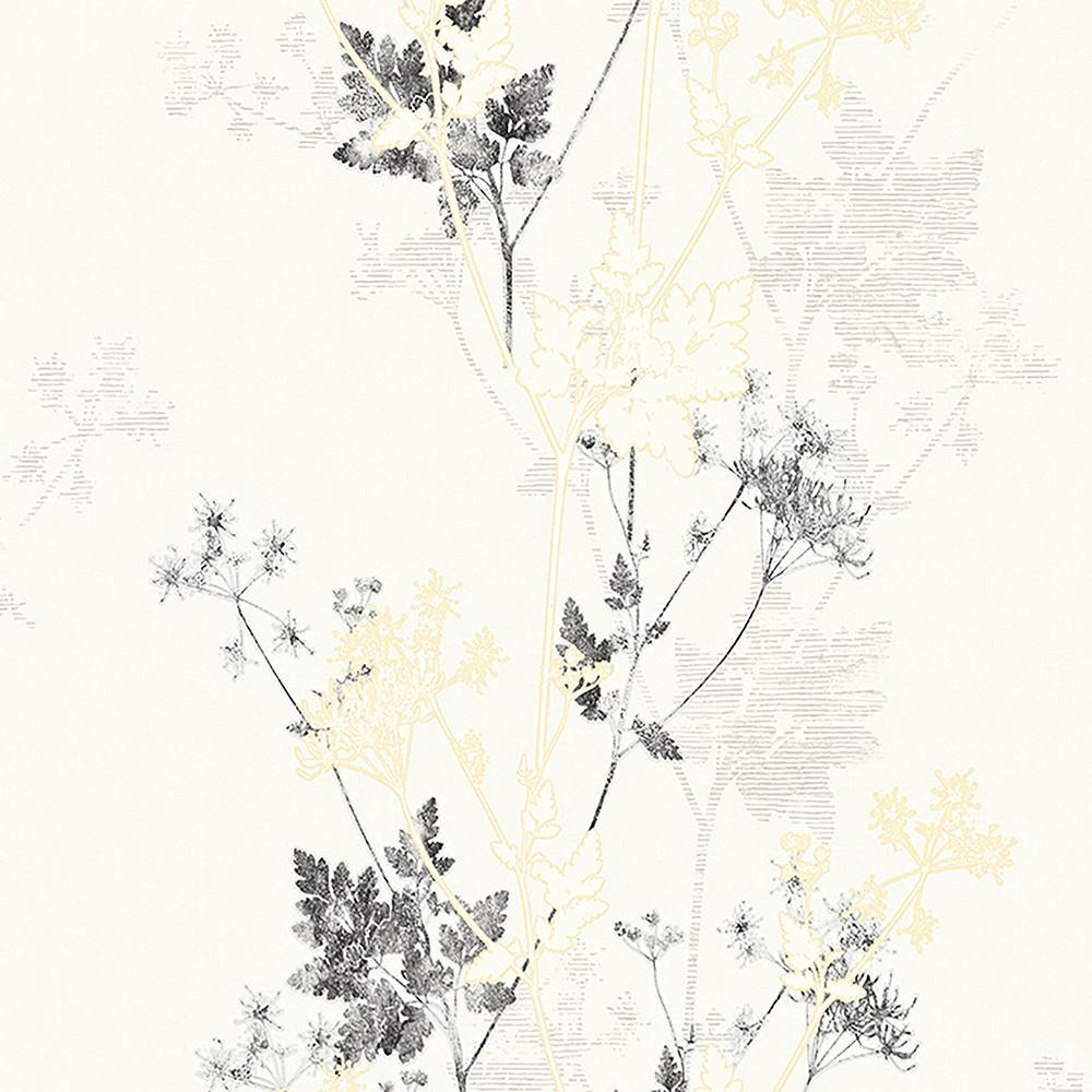 8 in. x 10 in. Tara Ivory Sprig Wallpaper Sample