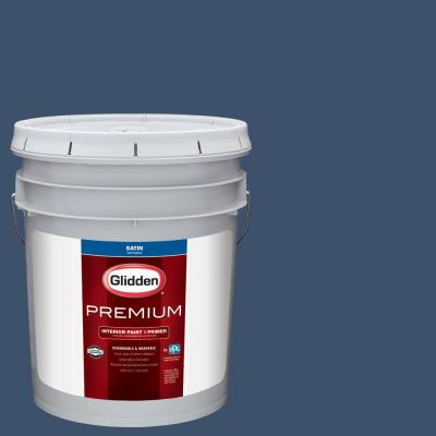 Glidden Premium 5 gal. #NHL-009C Columbus Blue Jackets Blue Satin Interior Paint with Primer
