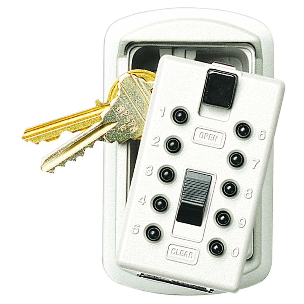 Kidde Slimline 2-Key Box with Pushbutton Lock, ​White