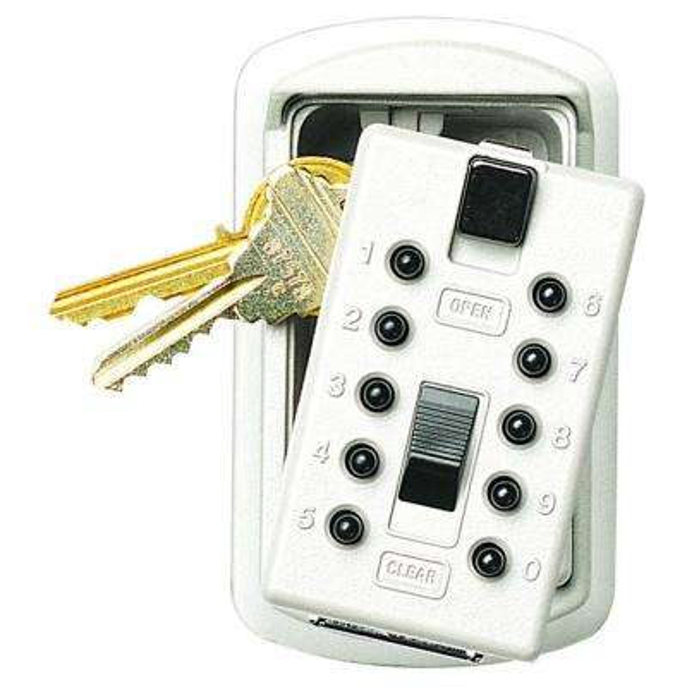 Slimline 2-Key Box with Pushbutton Lock, White