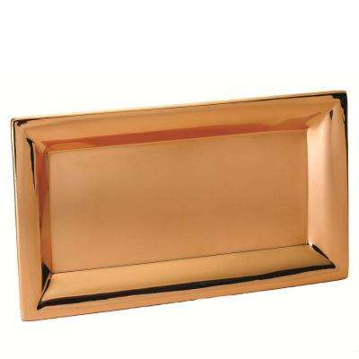21.5 in. x 12 in. Heavy Gauge Decor Copper Rectangular Tray