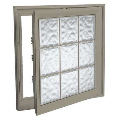 21 in. x 53 in. Right-Hand Acrylic Block Casement Vinyl Window with Driftwood Interior and Exterior