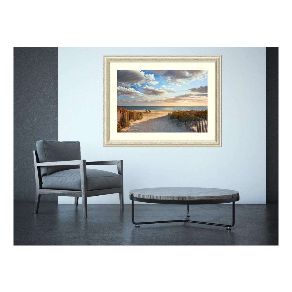 "45 in. W x 34 in. H ""Sunset Beach"" by Daniel Pollera Framed Art Print"