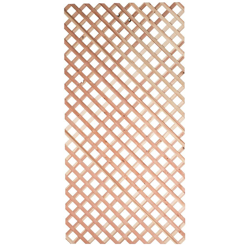 null 7/16 in. x 4 ft. x 8 ft. Redwood Architectural Unframed Lattice