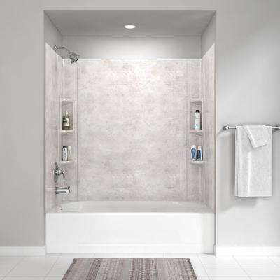 Colony 32 in. x 60 in. 5-Piece Glue-Up Alcove Wall Bath Set in Beige Parchment