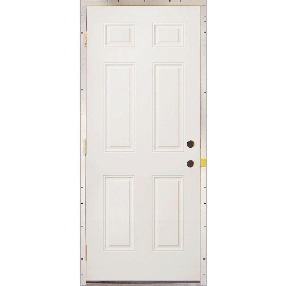 Milliken Millwork 36 in. x 80 in. 6-Panel Replacement Primed White Steel Prehung Front Door