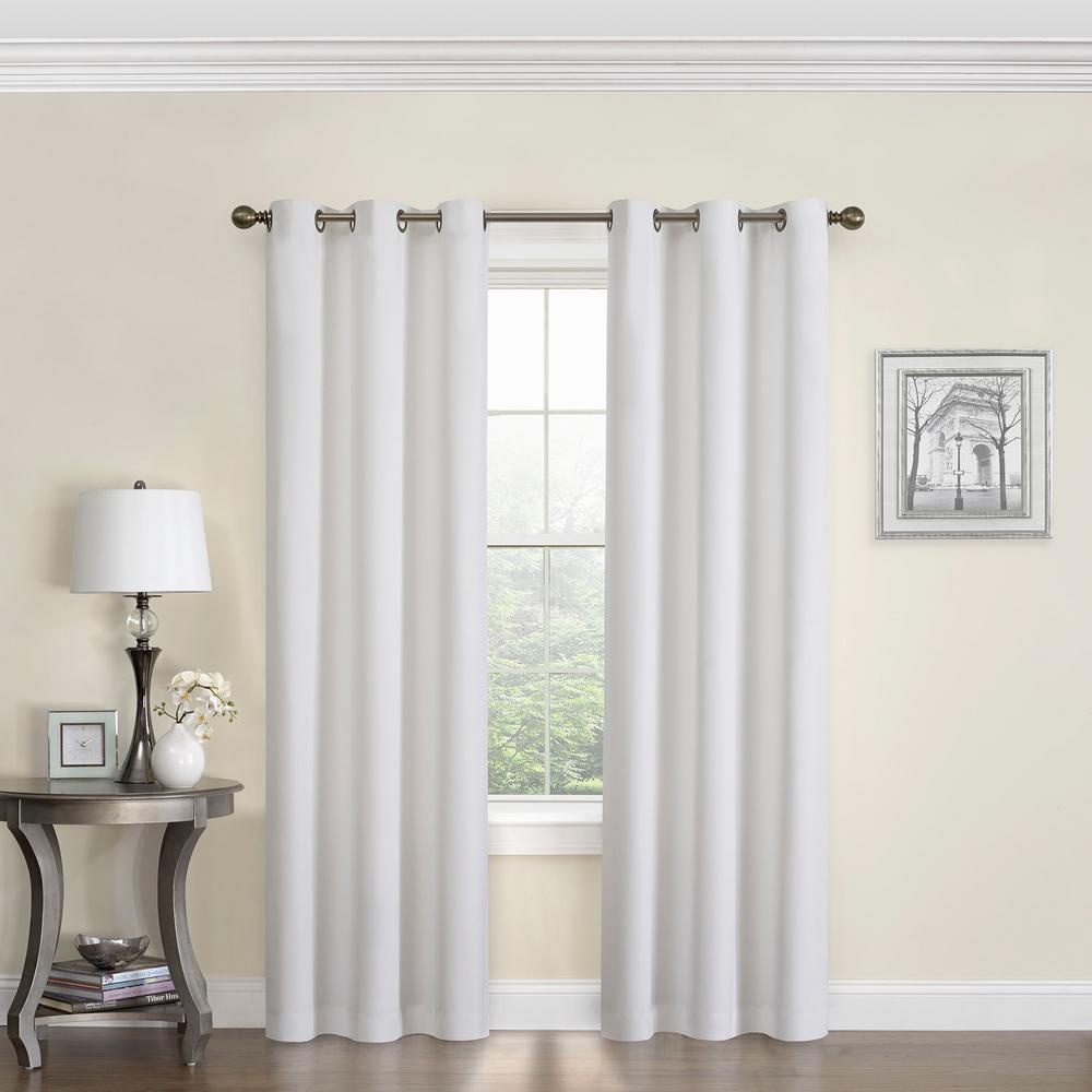 Eclipse Blackout Microfiber 63 in. L White Grommet Curtain