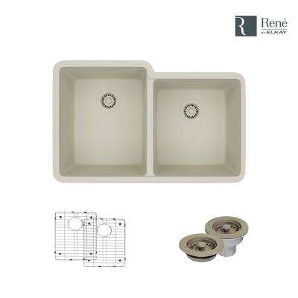 Undermount Composite Granite 32-1/2 in. Double Bowl Kitchen Sink in Concrete