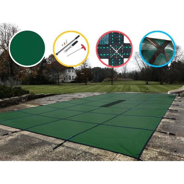 16 ft. x 36 ft. Rectangle Green Solid In-Ground Safety Pool Cover