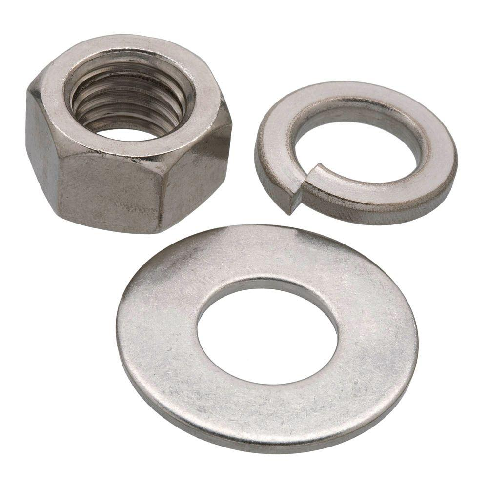 Bolt And Washer >> Everbilt 1 2 In Stainless Steel Nut Washer And Lock Washer 6 Piece Per Pack