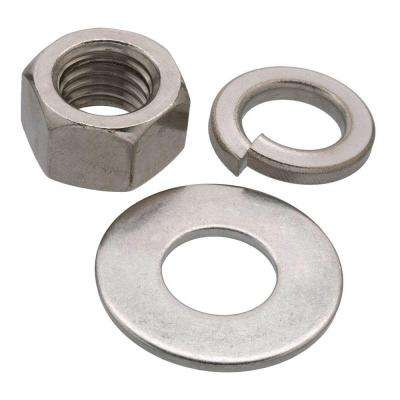 1/2 in. Stainless Steel Nut , Washer and Lock Washer (6-Piece per Pack)