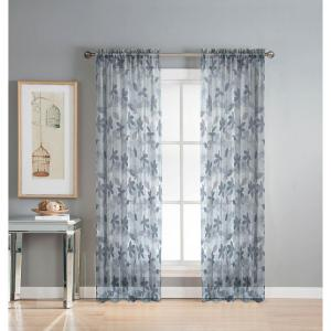 Window Elements Sheer Ashville 54 inch W x 84 inch L Rod Pocket Sheer Extra Wide Curtain Panel in Printed Gray by Window Elements