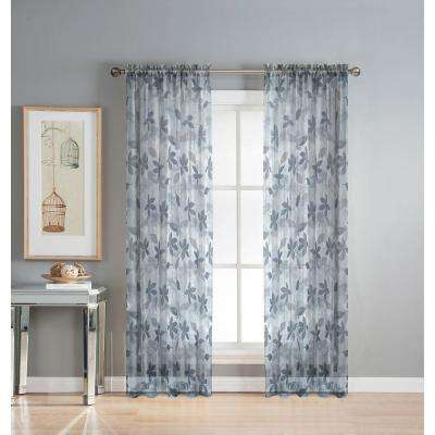 Sheer Ashville 54 in. W x 84 in. L Rod Pocket Sheer Extra Wide Curtain Panel in Printed Gray