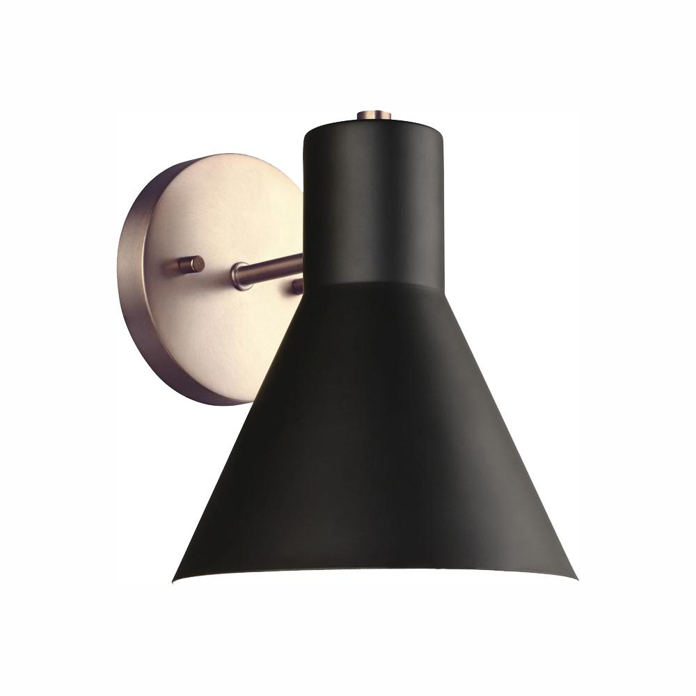 Sea Gull Lighting Towner 1-Light Black Shade with Satin Bronze Accents Sconce with LED Bulb