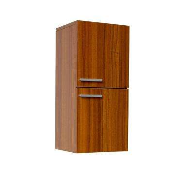 12 in. W x 27-1/2 in. H x 12 in. D Bathroom Linen Storage Cabinet in Teak