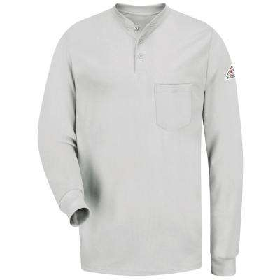 EXCEL FR Men's 2X-Large Grey Long Sleeve Tagless Henley Shirt