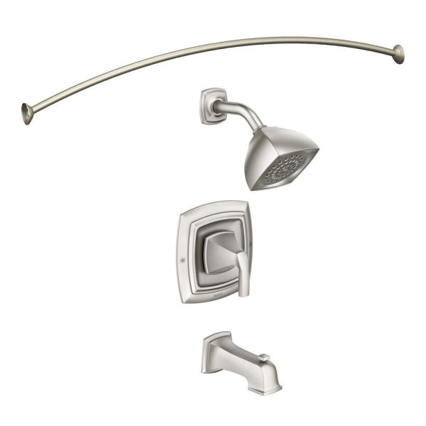 Hensley Single-Handle 1-Spray Tub and Shower Faucet with Curved Shower Rod in Spot Resist Brushed Nickel