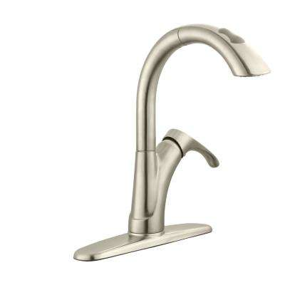 Ginger Single-Handle Pull-Down Sprayer Kitchen Faucet in Brushed Nickel