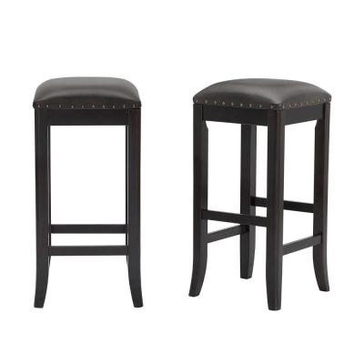 Ruby Hill Black Wood Upholstered Backless Bar Stool with Gray Faux Leather Seat (Set of 2) (14.4 in. W x 30 in. H)