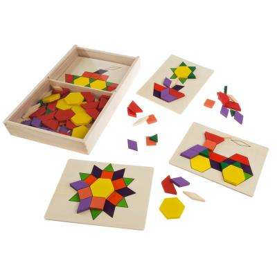 Kids Tangram Toy with 125 Wooden Block Geometric Shapes