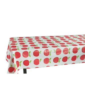 Berrnour Home 55 inch x 70 inch Indoor and Outdoor Cute Apple Design Tablecloth for Dining Table by