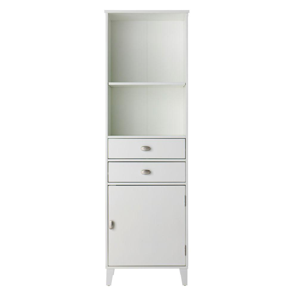 Home Decorators Collection Moderna 20 in. W Linen Cabinet with Glass Door in White