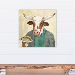 24 inch x 24 inch Breakfast Cow Eating A Muffin Printed Canvas Wall Art by