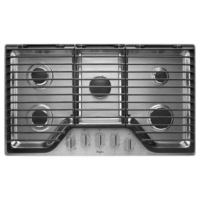 36 in. Gas Cooktop in Stainless Steel with 5 Burners including EZ-2-Lift Hinged Grates