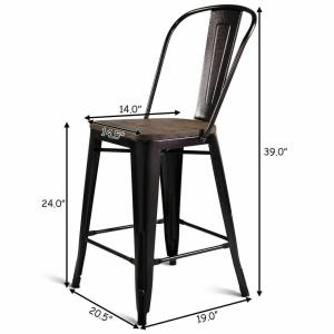 Sensational Costway Copper Set Of 4 Metal Wood Counter Stool Kitchen Pdpeps Interior Chair Design Pdpepsorg