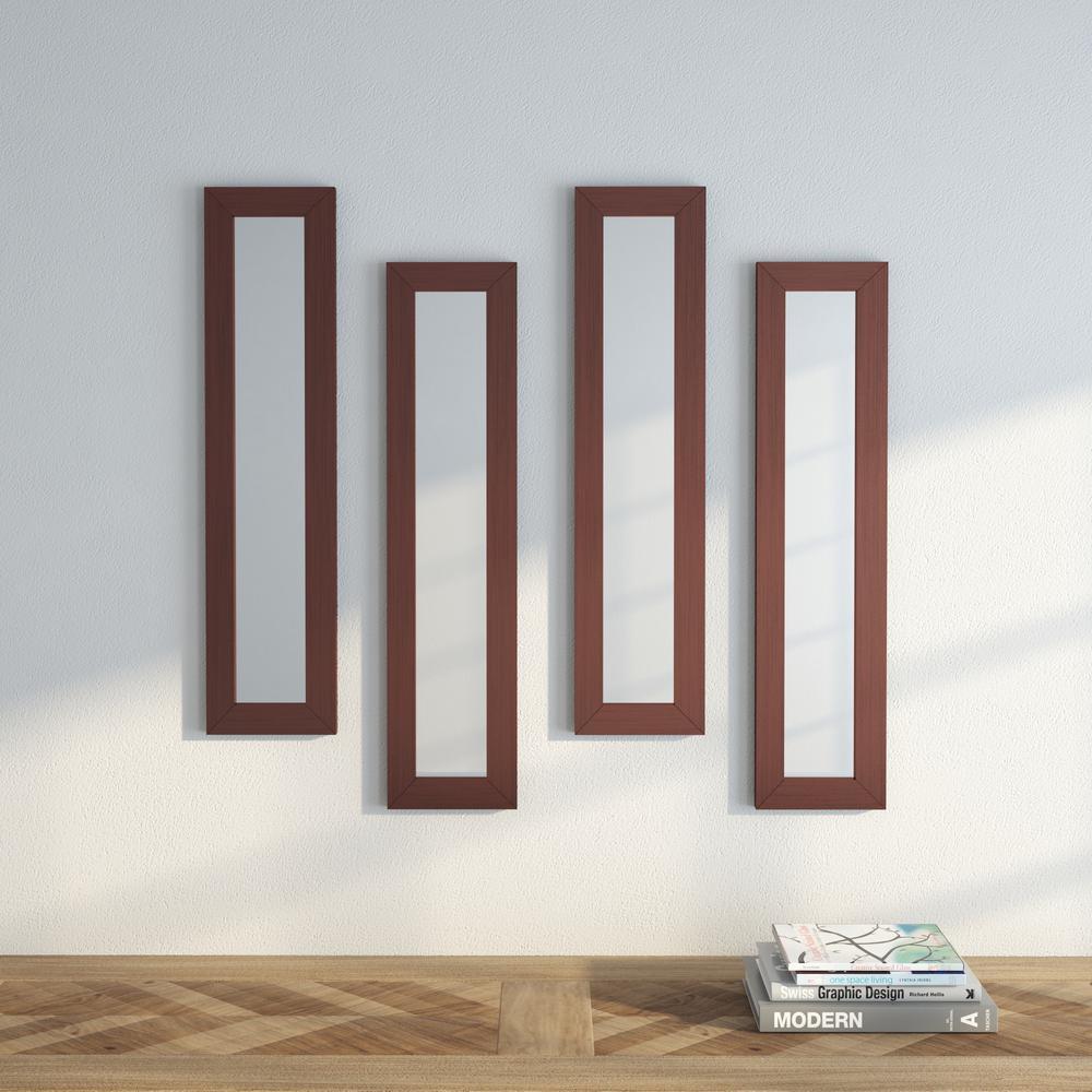 9.5 in. x 27.5 in. Shiny Bronze Vanity Mirror (Set of 4-Panels)