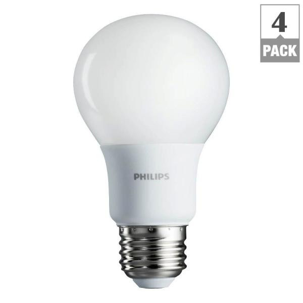 Philips 60 Watt Equivalent A19 Non Dimmable Energy Saving Led Light Bulb Soft White 2700k 4 Pack 461129 The Home Depot
