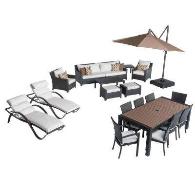 Deco Estate Wicker 20-Piece Patio Conversation Set with Sunbrella Moroccan Cream Cushions